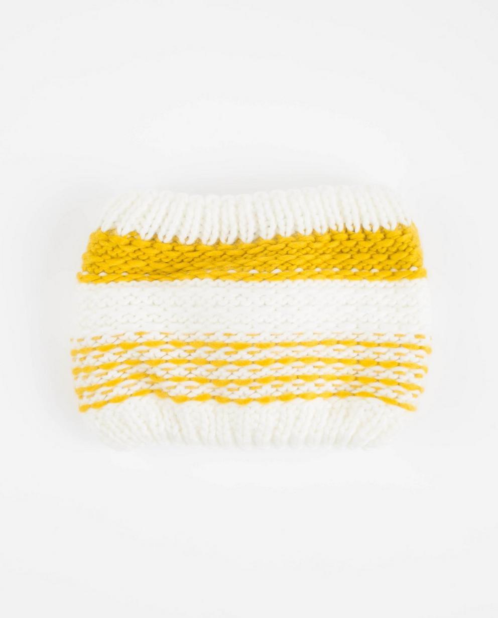 Weiß-gelber Strickschal - mit warmer Fleece-Fütterung - JBC